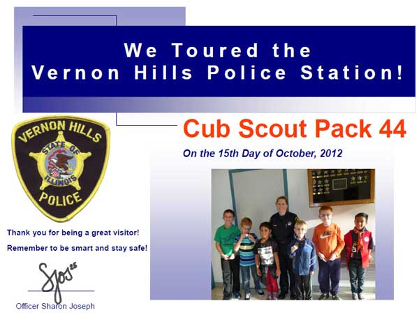 Cubs Pack 44 Tour the Vernon Hills Police, Dept., Oct., 2012